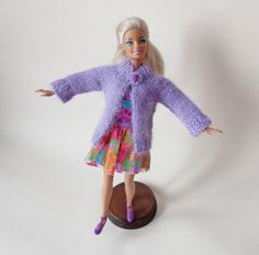 """Doll's cardigan/ knitted cardigan/ clothes for Waldorf or Barbie dolls/ cardigan Barbie/ (fits 11.8"""" doll) lilac/ knitted cardigan doll by EvaiDolls on Etsy"""