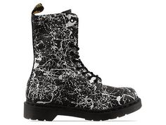 Dr. Martens 10 Eye Boot in Black White Splatter at Solestruck.com