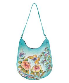 Another great find on #zulily! Blue Floral Leather Hobo #zulilyfinds