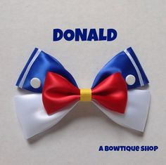 donald hair bow from abowtique shop on etsy. Sooooo many cute bows inspired by different movies. Ribbon Crafts, Ribbon Bows, Ribbons, Ribbon Flower, Ribbon Hair, Fabric Flowers, Disney Diy, Disney Crafts, Broches Disney