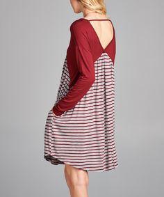 Burgundy Stripe-Contrast V-Neck Dress