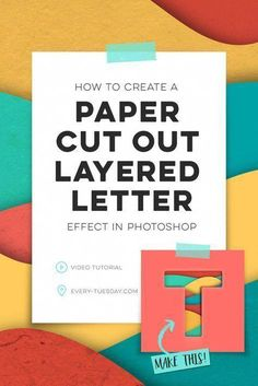 This week we'll use Illustrator and Photoshop to create a paper cut out layered letter look with added textures and shadows to bring to life. #PhotoshopActionsTypography #PhotoshopTutorialAdobe Photoshop Design, Photoshop Tutorial, Photoshop Video, Cool Photoshop, Effects Photoshop, Photoshop Actions, Photoshop Filters, Text Effects, Lightroom