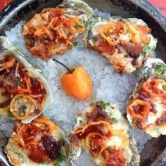 Grilled Oysters with Habanero Vinegarette and jalapeno compound butter Canned Oysters, Smoked Oysters, Grilled Oysters, Seafood Dishes, Fish And Seafood, Seafood Recipes, Appetizer Recipes, Appetizers, Oyster Recipes