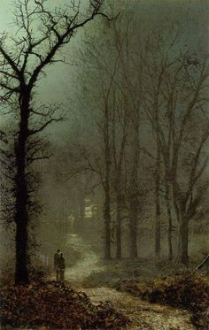 """Lovers in a Wood- John Atkinson Grimshaw (1836–13 October 1893) was an English Victorian-era artist, a """"remarkable and imaginative painter"""""""