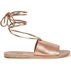 Ancient Greek Sandals Christina Rose Gold Leather Sandals - Size 8 (2.378.865 IDR) ❤ liked on Polyvore featuring shoes, sandals, tie shoes, leather footwear, tie sandals, ancient greek sandals and open toe shoes