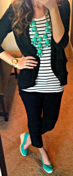 I like this color combo. Black and white with the aqua accessories. I could do this with my new necklace from Encore.