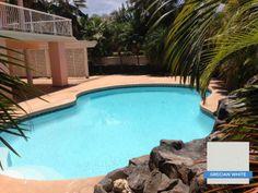 Hydrazzo Grecian White really brightens up a pool's blue water color. Huber Pools, Maui, HI #swimmingpool #pool #hydrazzo