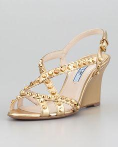 PRADA Studded Open-Toe Strappy Wedge, Platinum