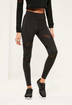Missguided - Active Mesh Panel Gym Leggings Black