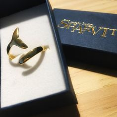 Gold Whale Tail Ring Tail Ring Gold Tail Ocean jewelry by Sharvit