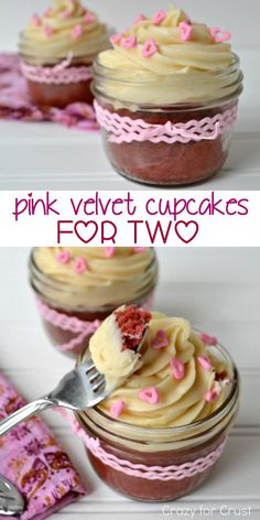 Pink Velvet Cupcakes with two perfect servings!