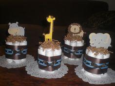 mini diaper cake centerpiece- jungle shower