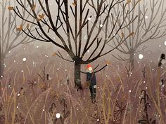 november snow Art Print by Lara Paulussen - X-Small Editorial Illustration, Illustration Inspiration, Winter Illustration, Children's Book Illustration, Art Fantaisiste, Snow Art, Illustrations And Posters, Samhain, Whimsical Art