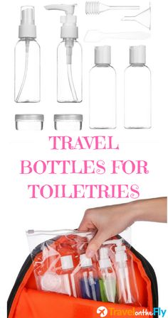 Travel bottles for makeup cosmetic toiletries. Contains everything you need for travel to contain your shampoo, conditioner, body soap, hand soap, makeup, hair products and more.