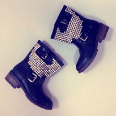 Perfect amount of edge #studs #boots #black #love #shoes #hardcore