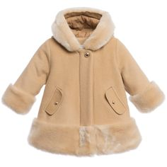 Chloé Girls Beige Cashmere Wool Coat at Childrensalon.com