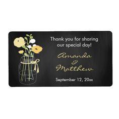 Chalkboard Mason Jar Wedding Favor Labels