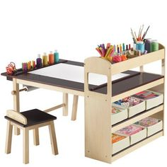 For art corner of playroom. Deluxe Art Center Set by Guidecraft Kids Art Table, Kid Table, Table And Chair Sets, Art Tables, Art Desk For Kids, Kids Table And Chairs, Kids Craft Tables, Lego Table, Toddler Art Table