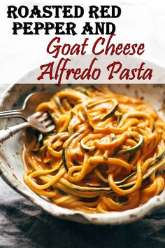 Prep Time: 5 minutes Cook Time: 10 minutes Total Time: 15 minutes Servings: 2 Sweet roasted red peppers in a creamy and tangy goat cheese alfredo sauce ser