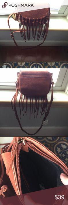 """🎄Free People little hobo bag 7 1/4"""" x 8 1/4"""" sienna color suede bag with fringe tassels, adjustable shoulder strap, and flap cover. Zippered inside closure with interior pocket - too fun! Free People Bags Shoulder Bags"""