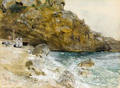 FRANZ SKARBINA (1849 - 1910) The Beach at Marina Piccola in Capri Watercolour and gouache.  Signed, dated and inscribed F. Skarbina / Capri 83 at the lower left.