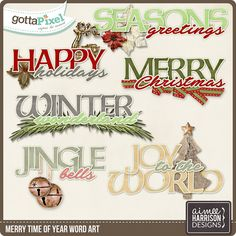 Merry Time of Year Word Art :: Gotta Pixel Digital Scrapbook Store by Aimee Harrison   $2.99