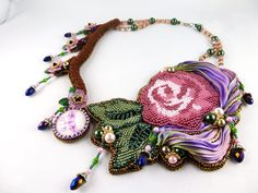 EBWC Sakura - handmade Collier, Necklace with Shibori silk and flowers in Bead Embroidery