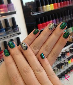 A darker set of Christmas nails. We're liking this vibe