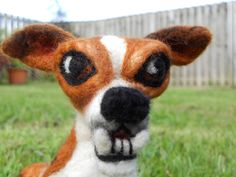Teeth, a one of a kind needle felted JRT