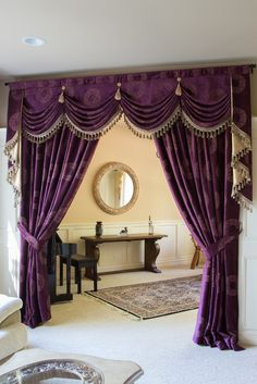 Check out this awesome bedroom drapes - what an ingenious theme Swag Curtains, Curtains And Draperies, Elegant Curtains, Beautiful Curtains, Home Curtains, Classic Curtains, Bedroom Drapes, Beautiful Living Rooms, Living Room Modern