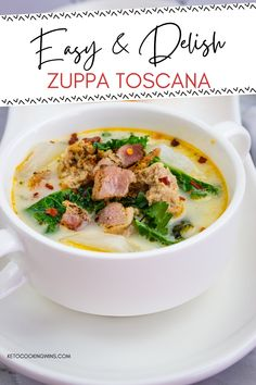 Loaded with flavor but none of the carbs, this super easy Olive Garden copycat recipe has been ketoized! Click now to see my chef tips to make this keto soup recipe perfectly every time! Enjoy keto Zuppa Toscana soup for lunch or dinner today! Low Carb Soup Recipes, Chowder Recipes, Sugar Free Recipes, Chili Recipes, Pasta Recipes, Dinner Recipes, Keto Pasta Recipe, Keto Soup, Zuppa Toscana Soup