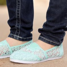 Mint Lace Slip-on Shoes A fun and flirty shoes for your everyday casual look. Comfy and cute! Check my closet for more size & color options. Rockland Shoes Flats & Loafers