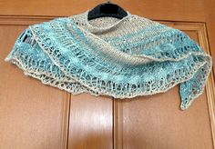 Artyarns Gold and Silver Shawl knitted with 2 skeins Beaded Silk and Sequins Light
