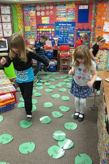 "Another pinner said Seusstastic Classroom Inspirations: Word Work. Students place the lily pad ""sight words"" or any word families around the room and say them as they hop on each word. I can see adapting this for any math skill as well! Sight Word Games, Sight Word Activities, Sight Words, Kindergarten Literacy, Early Literacy, Literacy Activities, Preschool, Literacy Centers, Teaching Reading"