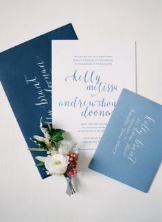 shades of blue wedding invites | Photography: Greg Finck