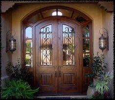 In-My-Dream-House/ arched front door, unique front doors, exterior fron Arched Front Door, Unique Front Doors, Best Front Doors, Double Entry Doors, Wood Front Doors, Wooden Doors, House Entrance, Entrance Doors, Porch Doors