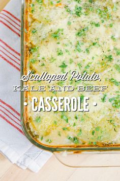 A hearty and healthy casserole made with potato, kale, and beef! This casserole is made with 100% real food ingredients (no canned soups!). | via Live Simply