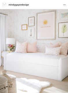 Little Girl's daybed mindy gayer design co is part of Nursery daybed - Girls Daybed Room, Nursery Daybed, Girl Nursery, Daybed Bedding, Ikea Daybed, Room Girls, Feather Wallpaper, Palm Wallpaper, Wallpaper For Girls Room