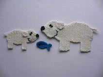 Eisbärmutter  mit Kind - Häkelapplikation