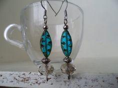 Original aqua blue Czech bead drop earrings by tcupcreations, $10.00