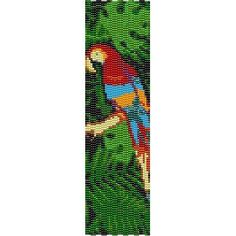 COLORFUL JUNGLE PARROT - PEYOTE beading pattern for cuff bracelet (buy 2 - get 3rd FREE)