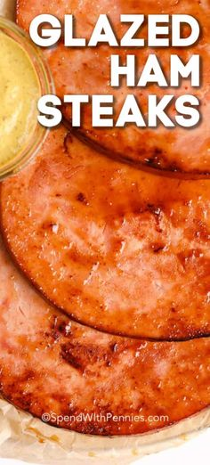 Glazed Ham Steak is the perfect dish for those hectic mornings. Serve with eggs and toast or make into a breakfast sandwich! Cooking Ham Steak, Baked Ham Steak, Grilled Ham Steaks, Ham Steak Glaze, Ham Steak Recipes, Honey Baked Ham, Pork Ham, Ham Glaze, Cooking Recipes