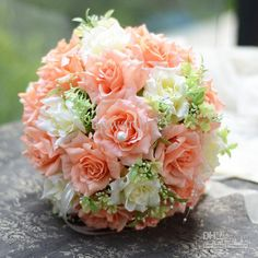 Wholesale Wedding Bouquet - Buy Beautiful Romantic PE Wedding Bouquet Orange Artificial Rose Flowers ><01455 Bridal Bouquets Bridal Throw Bouquet, $29.55 | DHgate