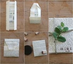 """Sprucing Up Seed Packets. """"It's simple to breathe new life into and repurpose old books that are falling apart. Turning them into a quick and simple craft makes a sweet, inexpensive gift. You can easily add these seed packets into a housewarming gift, wedding gift, or use them as party favors."""""""
