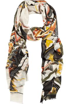 Geometric cashmere and silk-blend scarf. perfect for helping take your outfit from class to brunch