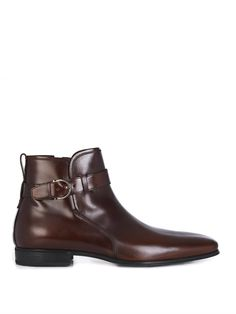 Salvatore Ferragamo Leather jodhpur belted boots