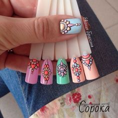 patterns for gel nails ногти nails, nail art и nails 2017 Cute Nail Art, 3d Nail Art, 3d Nails, Love Nails, Pretty Nails, Art 3d, Nail Swag, Mandala Nails, Nagel Hacks