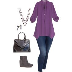 Purple and Gray - plus size by washername-oh on Polyvore featuring Old Navy, TOMS, 1928 and Glitzy Rocks