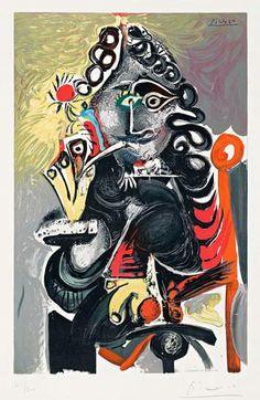 Pablo Picasso - Le Cavalier, 1968 color lithograph