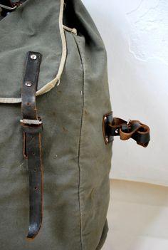 Vintage huge military backpack linen leather rucksack bucket shoulder bag olive green. $85.00, via Etsy.